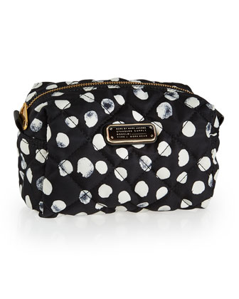 Crosby Quilted Polka-Dot Cosmetics Bag, Black Multi