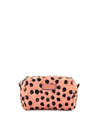 Crosby Polka-Dot Quilted Cosmetics Bag, Spring Peach