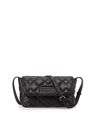 Julie Crosby Quilted Crossbody Bag, Black