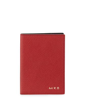 Monogrammed Panama Calfskin Passport Cover, Red