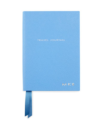 Monogrammed Leather Travel Journal, Blue