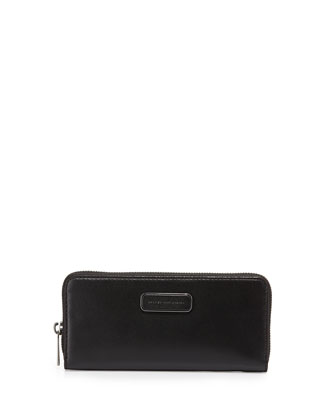 Ligero Leather Slim-Zip Wallet, Black