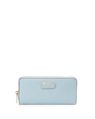 Ligero Leather Slim-Zip Wallet, Faded Blue