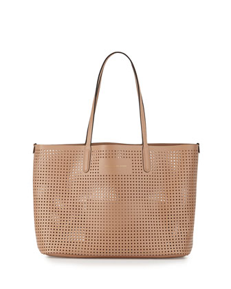 Metropolitote Perforated Tote Bag, Dark Buff