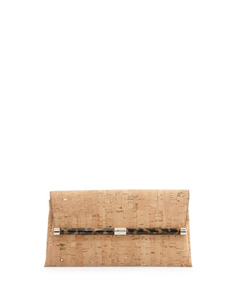 Metallic Cork Envelope Clutch Bag, Natural