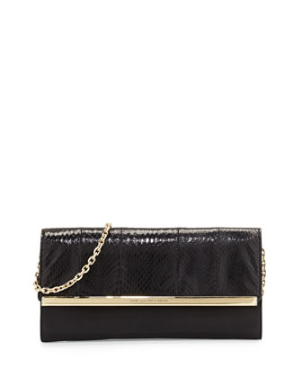 Voyage After 6 Snakeskin Clutch Bag, Black