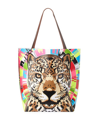 Embellished Sheer Cocoon Coverup & Jaguar-Print Vinyl Tote Bag