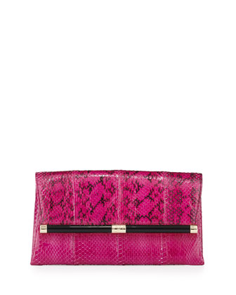 440 Snake Envelope Clutch Bag, Azalea