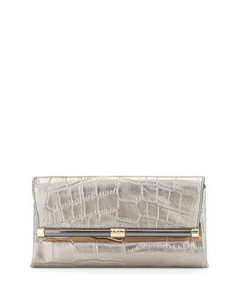 440 Metallic Croc-Embossed Leather Envelope Clutch Bag, Granite