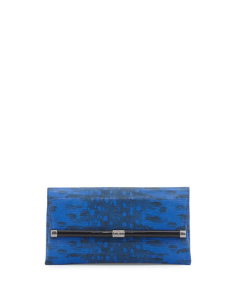 440 Snake-Embossed Leather Envelope Clutch Bag, Cobalt