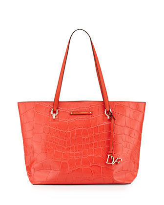 Ready to Go Croc-Embossed Tote Bag, Hot Orange