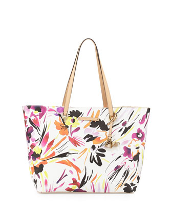 Ready-To-Go Printed Tote Bag, Painterly Floral