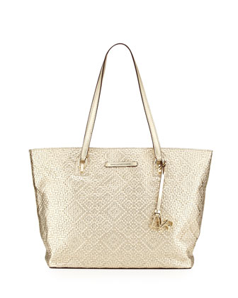 Ready to Go Woven Metallic Tote Bag,