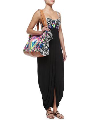 Mixed-Print/Solid Jersey Maxi Dress & Canvas Zip Tote Bag