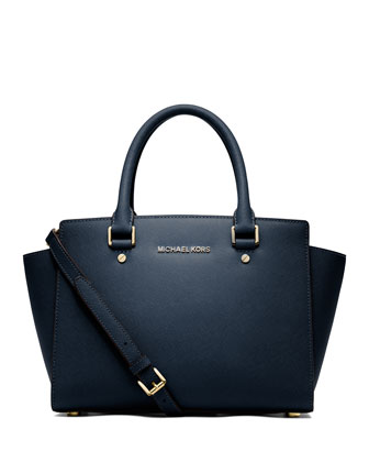 Selma Medium Top-Zip Satchel Bag, Navy
