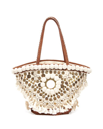 Medium Tuk Tuk Tote Bag, Ivory/Brown