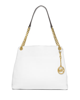 Jet Set Large Chain Shoulder Tote Bag, Optic White