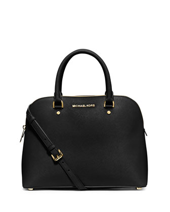 Cindy Large Dome Satchel Bag, Black