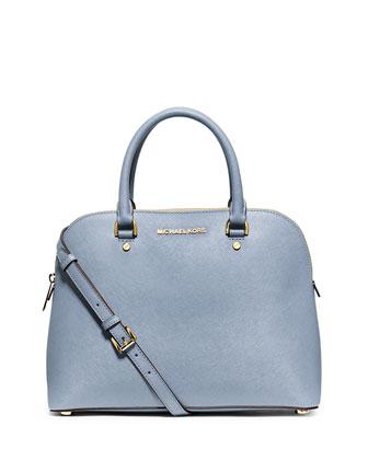 Cindy Large Dome Satchel Bag, Pale Blue