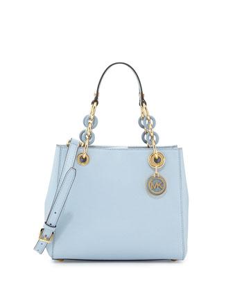 Cynthia Small Satchel Bag, Pale Blue