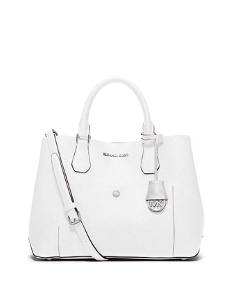 Greenwich Large Leather Tote Bag, Optic White/Aqua