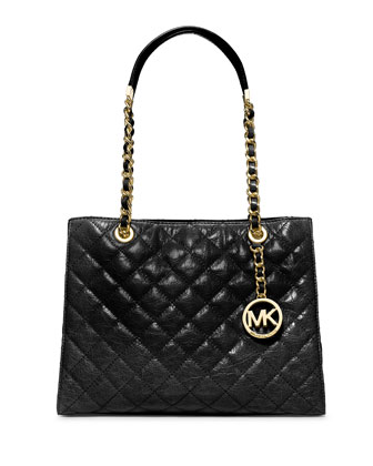 Susannah Quilted Medium Tote Bag, Black