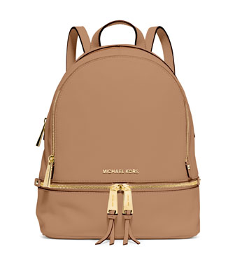 Rhea Small Zip Backpack, Peanut