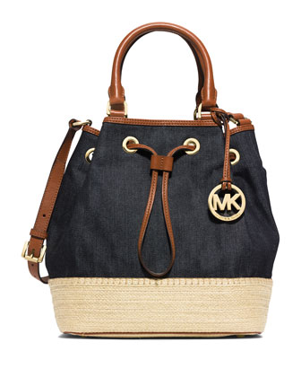 Marina Large Espadrille Shoulder Bag, Denim