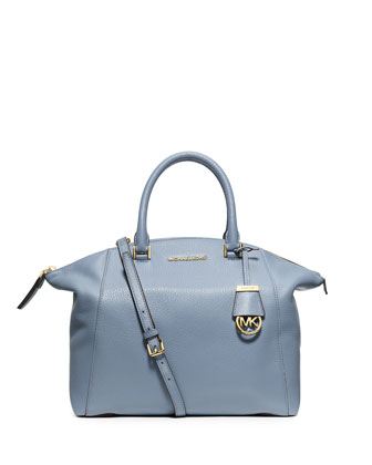 Riley Large Pebbled Leather Satchel Bag, Pale Blue