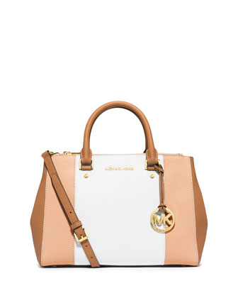 Sutton Tri-Tone Medium Saffiano Leather Satchel Bag, Nude/White/Peanut