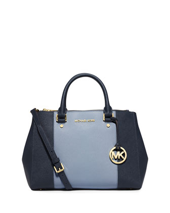 Sutton Medium Saffiano Satchel Bag, Navy/Pale Blue