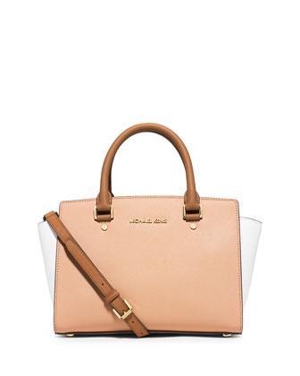 Selma Medium Tri-Tone Satchel Bag, Nude/White/Peanut
