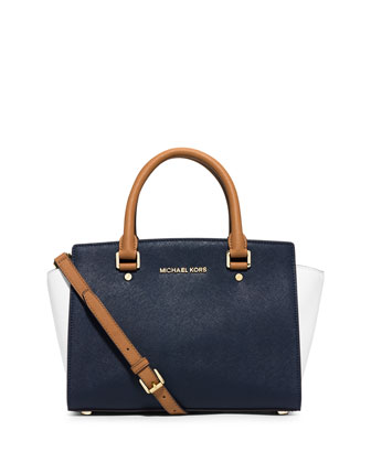 Selma Medium Tri-Tone Satchel Bag, Navy/White/Peanut