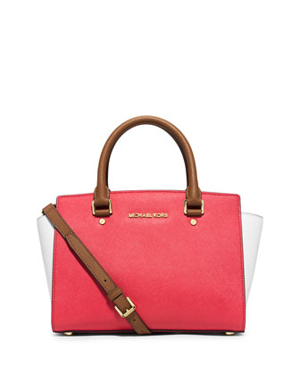 Selma Medium Tri-Tone Satchel Bag, Watermelon/White/Peanut