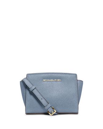 Selma Mini Saffiano Messenger Bag, Pale Blue