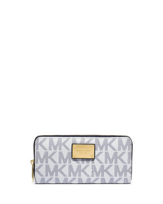 Jet Set Continental Logo Wallet, Navy/White