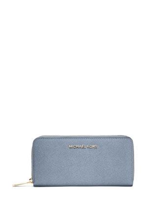 Jet Set Continental Saffiano Wallet, Pale Blue
