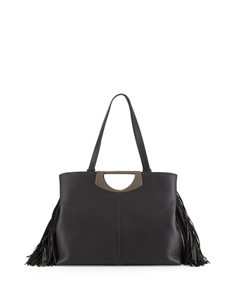 Passage Medium Fringe Shopping Tote Bag, Black