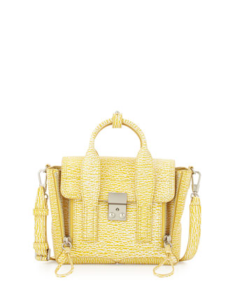 Pashli Mini Leather Satchel Bag, Ivory/Mimosa