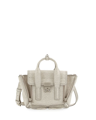 Pashli Mini Leather Satchel Bag, Ivory/Dove