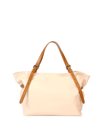 Calfskin Buckled Shoulder Bag, Powder/Cuir