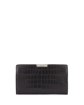 Ginza Croc-Embossed Matte Frame Clutch Bag, Black