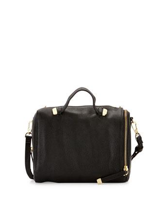 Leather Baby Satchel w/ Handle, Black