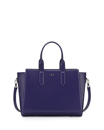 Leather East-West Satchel Bag, Violet
