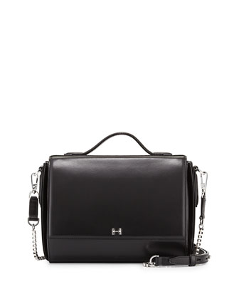 Small Leather Flap Shoulder Bag, Black