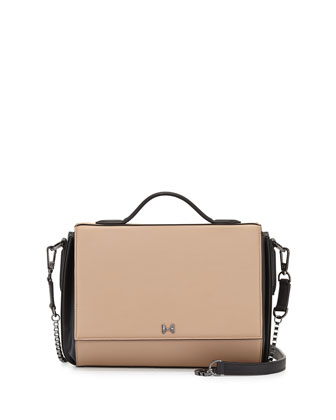 Small Leather Flap Shoulder Bag, Ash/Black