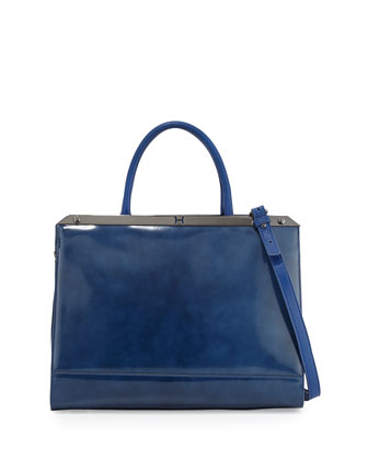 Large Satchel Bag with Strap, Cobalt