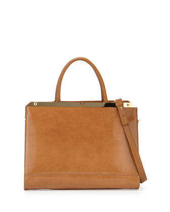 Large Satchel Bag with Strap, Tan