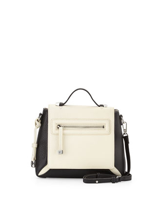 Leather Flap Crossbody Bag, Chalk/Black