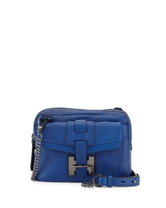 Small Pebbled Crossbody Bag, Cobalt